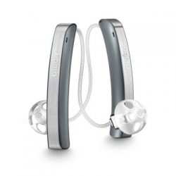 a pair of grey Signia Styletto Hearing Aids